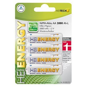 "Heitech NiMH-Akku ""Ready to use""; HR6/Mignon/AA"
