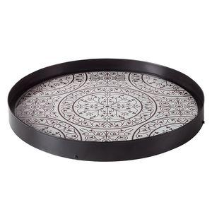 Tablett Amilly - Stahl / Glas - Grau, ars manufacti