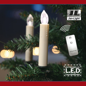 10er LED Christbaumkerzenset weiß kabellos