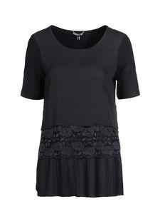 Mocca by J.L. 1/2 Shirt in Layeringoptik, schwarz, 40