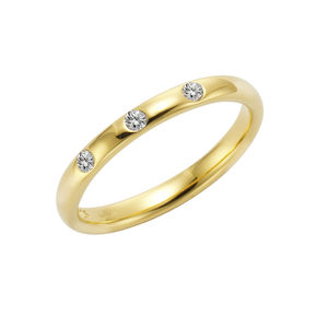 Jamelli Ring 925/- Sterling Silber vergoldet mit Weißtopas, 60