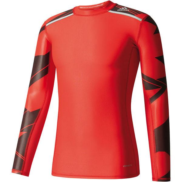 adidas Herren Techfit Kompressions Shirt Chill Graphic, rotschwarz von