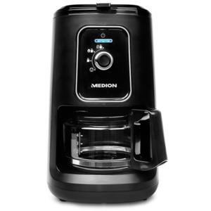MEDION Kaffeemaschine mit Mahlwerk MD 17384, 2in1-Funktion, 600 ml Tankvolumen, Permanentfilter, 2 Mahlstufen, 900 Watt (schwarz)