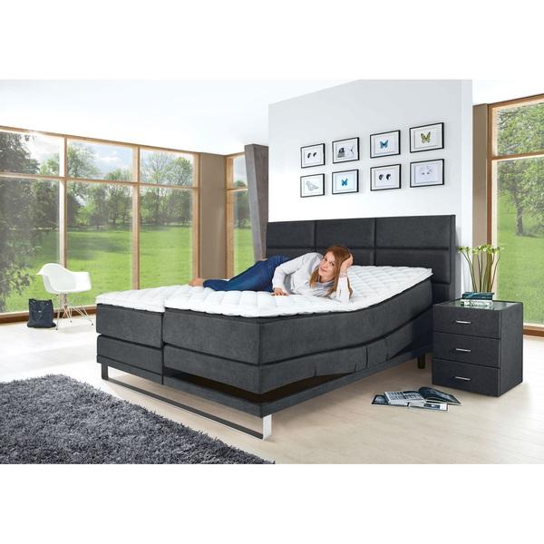 OLE GUNDERSON Bett Stoffbezug Dunkelgrau Ca. 180 X 200 Cm  Taschenfederkernmatratze H2/H3