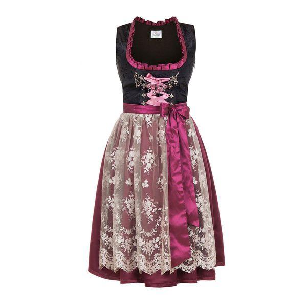Made In Germany Midi Bordeaux Dirndl Pink Edelnice bymYf6gI7v