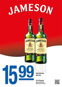 Jameson Irish Whiskey 40% Vol.