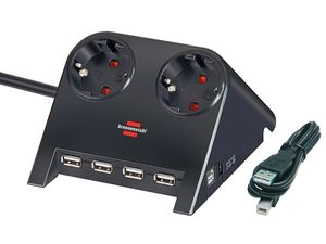 brennenstuhl Desktop-Power-Plus mit USB-2.0-Hub  2-fach