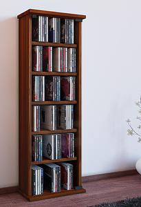 """VCM Regal DVD CD Rack Medienregal Medienschrank Aufbewahrung Holzregal Standregal Möbel Bluray Möbel """"Vetro"""" (Farbe: Kern-Nussbaum)"""