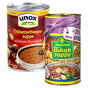 Indonesia Bihunsuppe 390 ml + 35 % oder Unox Suppen 400 ml jede 390 ml + 35 % = 530/400-ml-Dose