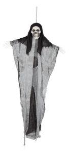 Skelett zum Hängen, mit Stofffetzen, 122cm