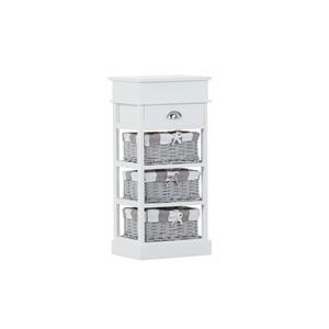 Weißes Regal CABINET der Marke INTERhome  mit 3 Rattankörben