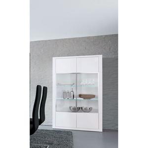 MONDO Vitrine ARAGON Lack Weiß Hochglanz ca.120 x 190 x 45 cm