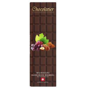 Chocolatier             Schweizer Milchschokolade mit Weinbeeren, Haselnüssen und Mandeln                  (2 Stück)