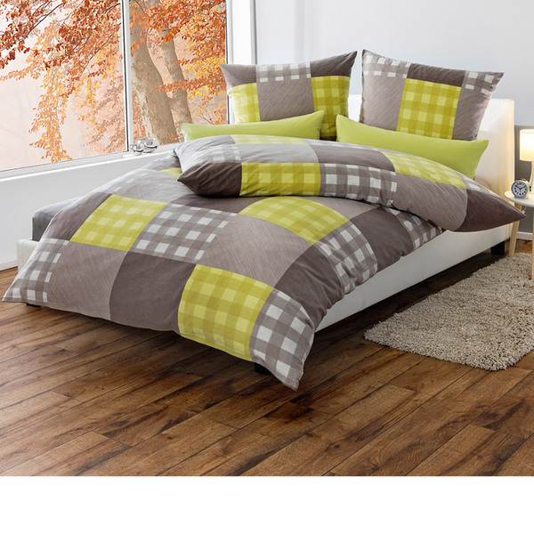 dreamtex thermo fleece bettw sche 155 x 220cm squares kiwi von norma ansehen. Black Bedroom Furniture Sets. Home Design Ideas