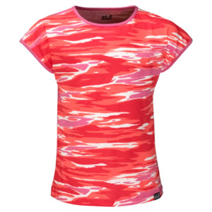 Jack Wolfskin T-Shirt Mädchen Coastal Wave T-Shirt Girls 152 hibiscus red all over