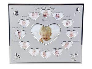 Alu Bilderrahmen - Baby`s erstes Jahr - herzförmige Öffnungen