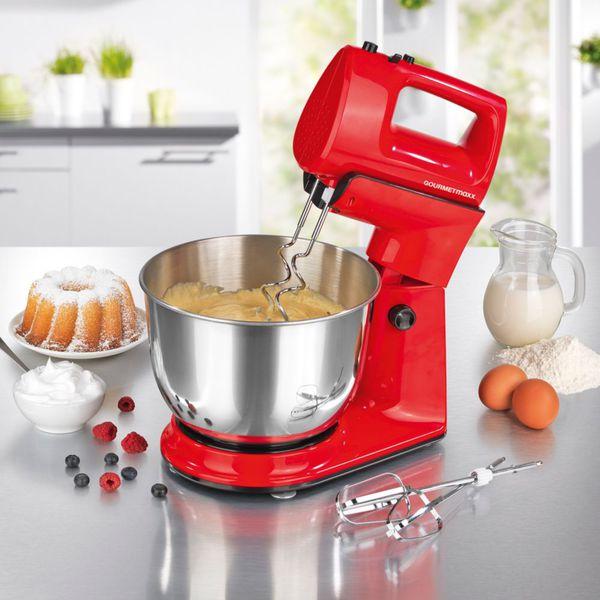 Gourmetmaxx Kuchenmaschine 2in1 300w Mit Abnehmbarem Handmixer Rot