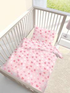 Kinderbettwäsche Herzchen, Renforcé, rosa, 100 x 135 cm