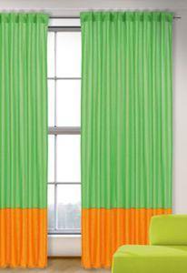 Vorhang Uni, grün-orange, 245x135, (1 Schal) Gr. 245 x 135
