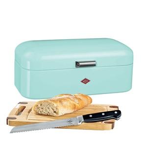 WESCO Brotkasten 3 teilig GRANDY Mintgrün mit Messer und Schneidebrett