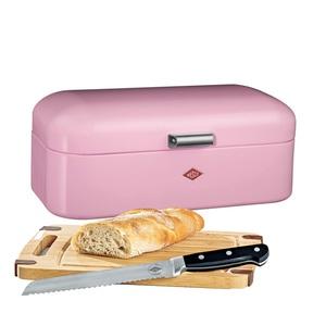 WESCO Brotkasten 3 teilig GRANDY Rosa mit Messer und Schneidebrett