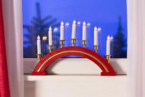 Merxx Leuchter mit Goldrand, 7-flammig, Holz, rot, innen