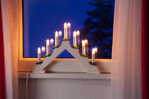 Merxx Leuchter, 7-flammig, Holz, weiß, innen