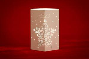 Merxx LED Dekolicht Quader Stern mit Schneeflocken, weiß, innen