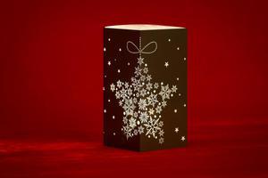 Merxx LED Dekolicht Quader Stern mit Schneeflocken, braun, innen