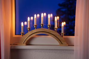 Merxx Leuchter mit Goldrand, 7-flammig, Holz, natur, innen
