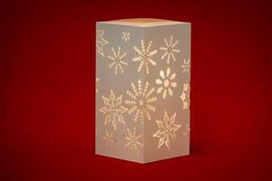 Merxx LED Dekolicht Quader Schneeflocken, weiß, innen