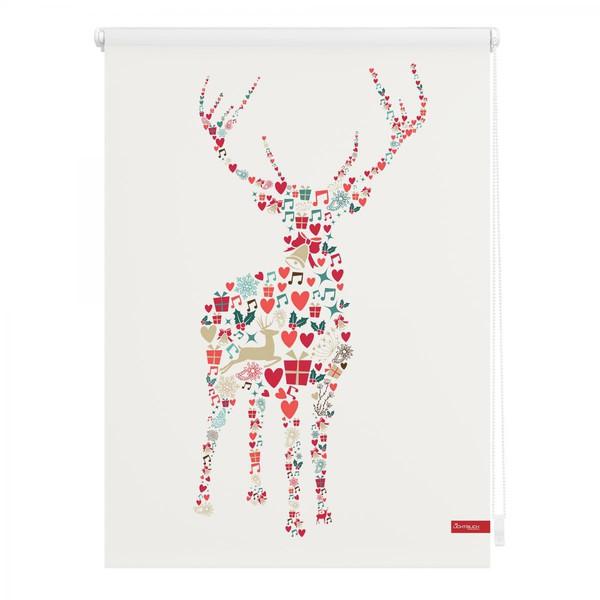 Lichtblick Rollo Klemmfix, ohne Bohren, blickdicht, Rentier Weihnachten - Bunt, 100 x 150 cm (B x L)