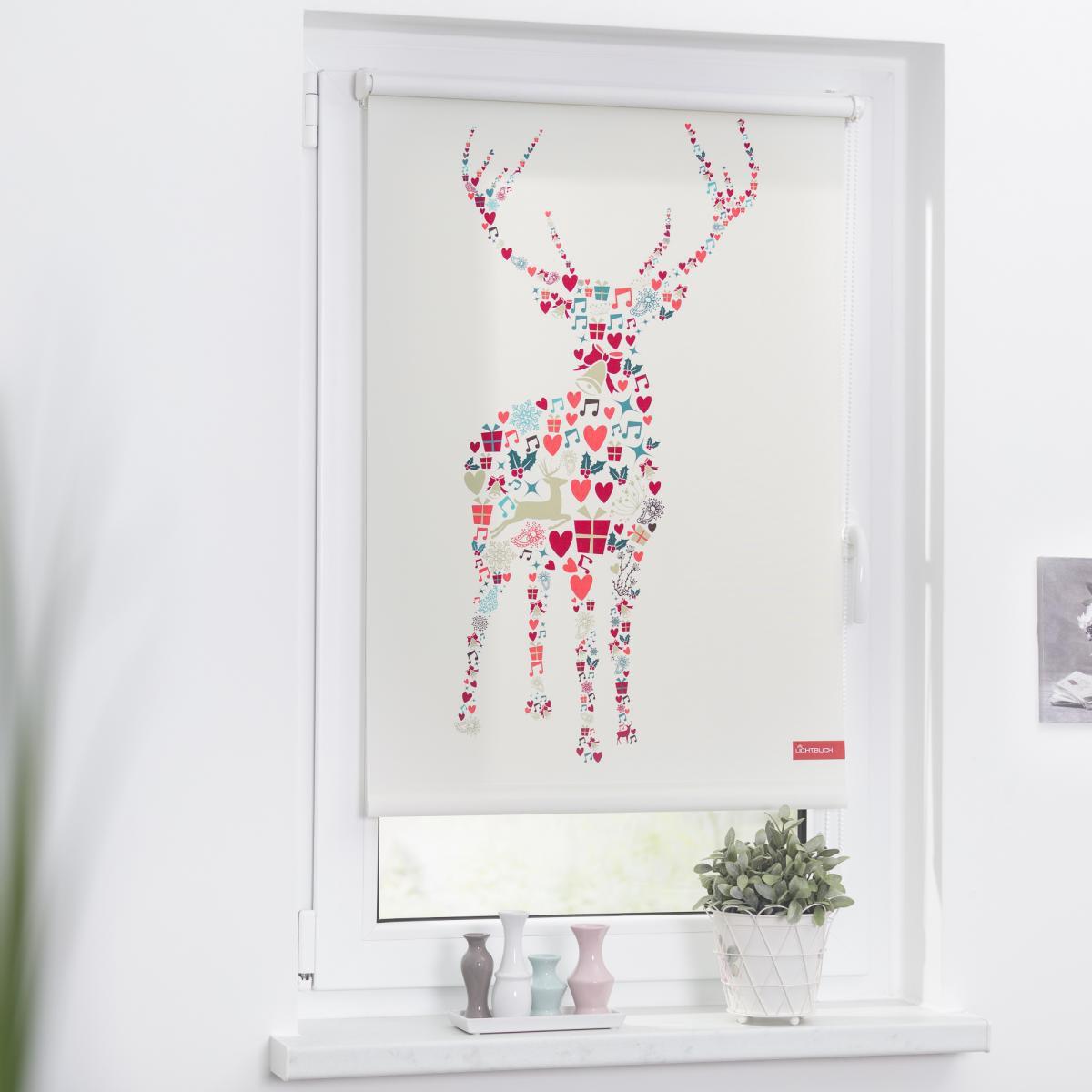Bild 2 von Lichtblick Rollo Klemmfix, ohne Bohren, blickdicht, Rentier Weihnachten - Bunt, 100 x 150 cm (B x L)