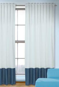 Vorhang Uni, weiß-blau, 245x135, (1 Schal) Gr. 245 x 135