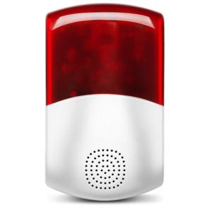 MEDION Smart Home Außensirene P85714, Smart Home, 95dB, Stroboskopisches rotes Licht (weiß-rot)