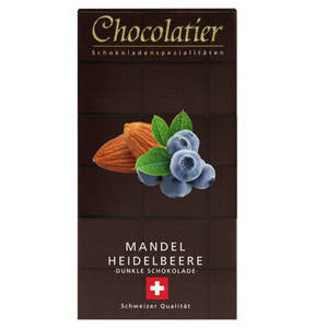 Chocolatier             Schweizer Schokolade Zartbitter 72% mit Mandel und Heidelbeere                  (3 Stück)
