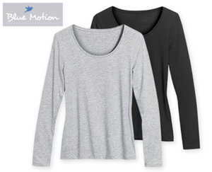 Blue Motion Langarm-Basic-Shirts, 2 Stück