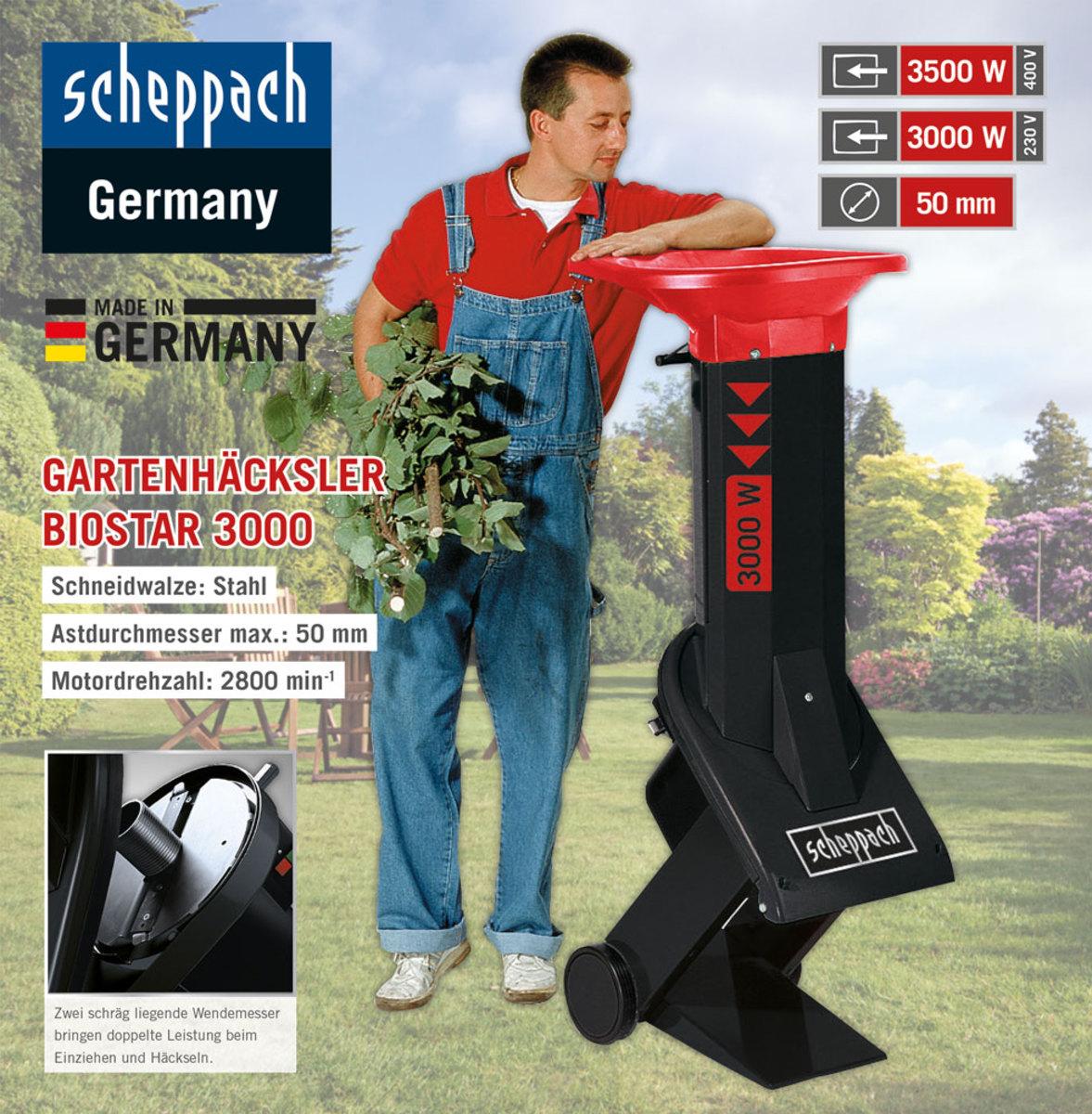 Bild 1 von Scheppach Elektro-Gartenhäcksler Biostar 3000, 3,0 kW