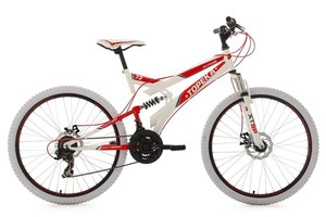 "KS Cycling Mountainbike Fully 26"" Topeka weiß-rot RH 44 cm"