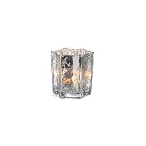 Teelichtglas Stern, D:7,5cm x H:7,5cm, silber