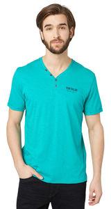 Tom Tailor T-Shirt mit Fake-Knopfleiste, brazilian turquoise
