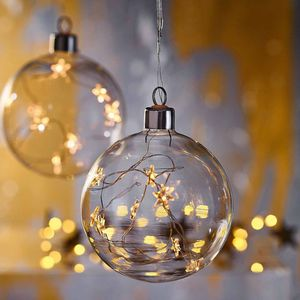 Kugel Glas mit Lichterstrang, D:15cm, klar
