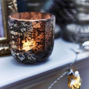 Teelichtglas Antik, D:7,5cm x H:7,5cm, gold