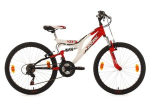 "KS Cycling Kinderfahrrad Mountainbike Fully 24"" Zodiac rot-weiß RH 38 cm"