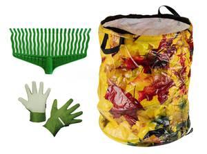 Gartenharke mit Gartensack Ahornblätter 87 L und Herren Gartenhandschuhe
