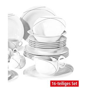 Seltmann Weiden Tafelservice 16 Teilig TRIO HIGHLINE Weiß mit Dekor Grau/Schwarz