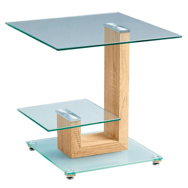 Anzani Beistelltisch DOLLY Glas/Sonoma Ca. 50 X 50 X 50 Cm. Porta Möbel