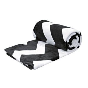 Flanelldecke Zick Zack 100 % Polyester Schwarz/Weiß ca. 130 x 160 cm