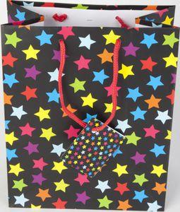 Geschenktüte mit Sternen schwarz/bunt
