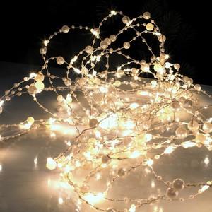 LED Perlen-Lichtergirlande 90 warmweiße LED